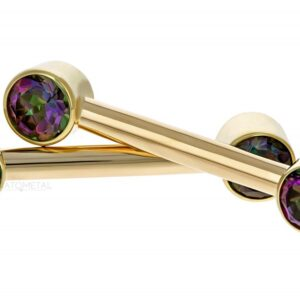Side-set Bezel Gem Barbells